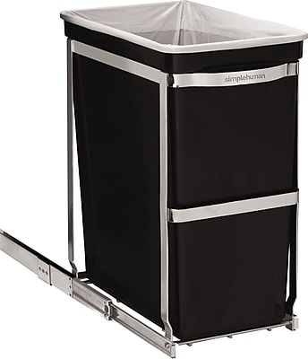 simplehuman Pull-Out Trash Can, Black, 8 Gallon 177704
