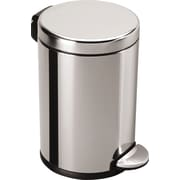 simplehuman® Mini Round Fingerprint-proof Step Trash Can, Polished Stainless Steel, 1.2 gal.