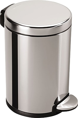 simplehuman® Mini Round Step Can, Fingerprint-Proof Stainless Steel, 1.2 Gallon