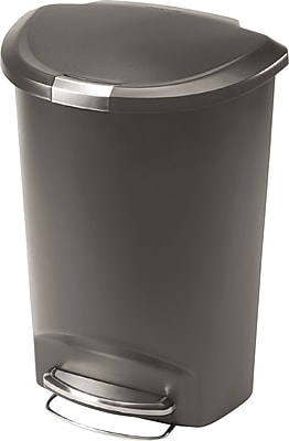 simplehuman® Semi-Round Step Can, Grey, 13 Gallon