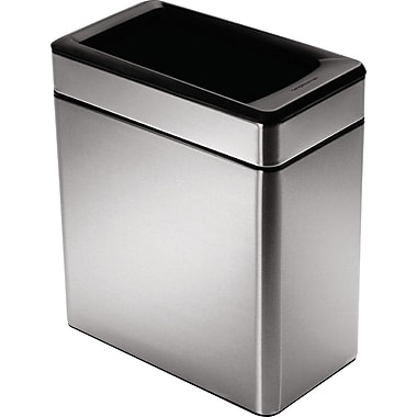 simplehuman® Profile Open Trash Can, Stainless Steel, 2.6 Gallon