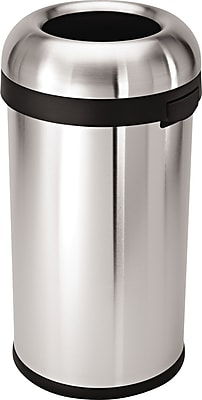 simplehuman® Bullet Open Trash Can, Brushed Stainless Steel, 16 Gallon