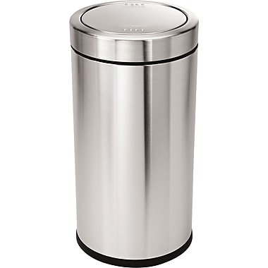 Simplehuman® Swing Top Trash Can, Brushed Stainless Steel, 14.5 Gallon