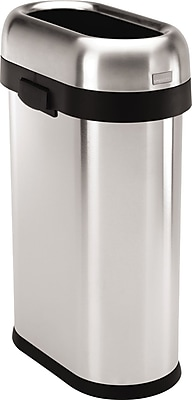 simplehuman® Slim Open Trash Can, Brushed Stainless Steel, 13 Gallon
