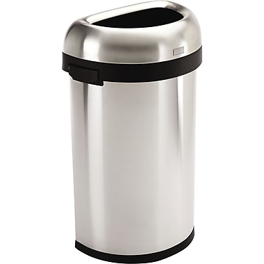 simplehuman® Semi-Round Open Trash Can, Brushed Stainless Steel, 16 Gallon