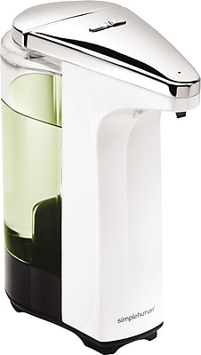 simplehuman® Compact Sensor Pump Soap Dispenser, Stainless Steel/White