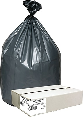 Webster Industries® Platinum Plus® Super Heavy-Duty Can Liners, 31-33 Gallon, 1.35 mil., Black/Silver, 33