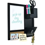 "MasterVision® 16""H x 16""W x 3""(D) Combo Dry Erase and Cork Station W/Storage, Black Frame"