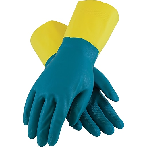 Assurance Flocklined Chemical Resistant Work Gloves, Neoprene & Latex, Large, Yellow & Green, 28 Mil, 12 Pairs