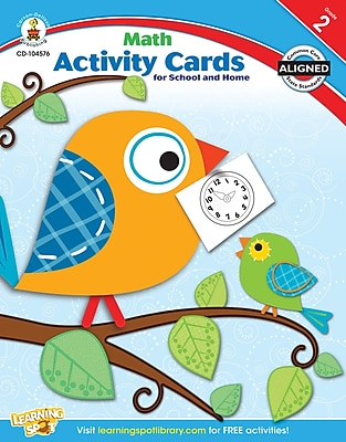 Carson-Dellosa Math Activity Card for School and Home Workbook, Grade 2