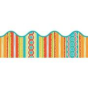 """Carson-Dellosa Publishing 108138 3' x 2.25"""" Scalloped Stripes Tropical Twist Border, Multicolor"""