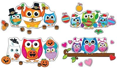 Carson-Dellosa Celebrate with Colorful Owls, Bulletin Board Set, 59 pieces