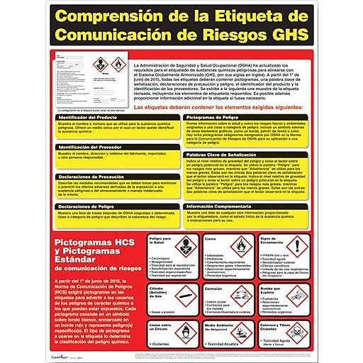 ComplyRight™ Hazardous Material Posters, Understanding GHS Hazard Communication Labeling, Spanish (W0721)
