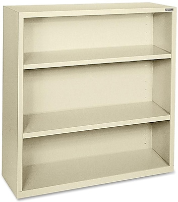 Hirsh Steel Bookcase, Putty, 3-Shelf, 42