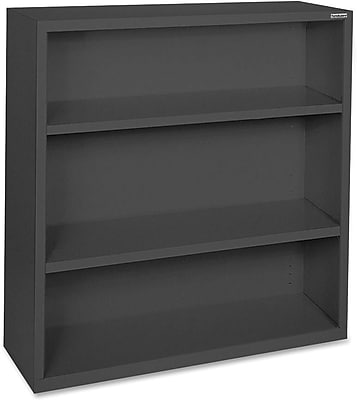 Hirsh Steel Bookcase, Black, 3-Shelf, 42