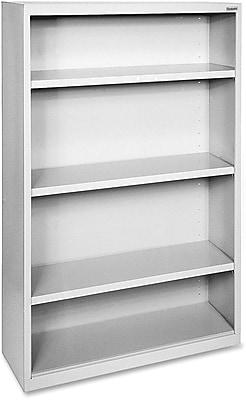 Hirsh Steel Bookcase, Light Gray, 4-Shelf, 60