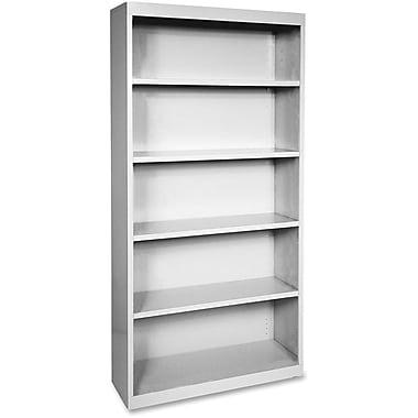 Hirsh Steel Bookcase, Light Gray, 5-Shelf, 72