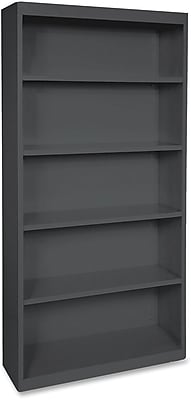 Hirsh Steel Bookcase, Black, 5-Shelf, 72