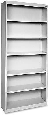 Hirsh Steel Bookcase, Light Gray, 6-Shelf, 82