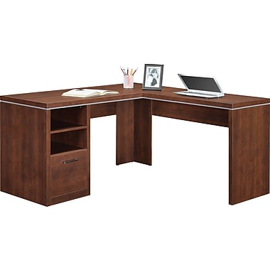 Whalen Legeant L-Shaped Desk, Cherry