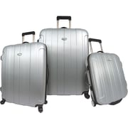 Traveler's Choice® TC3900 Rome 3-Piece Hard-Shell Spin/Rolling Luggage Set, Silver