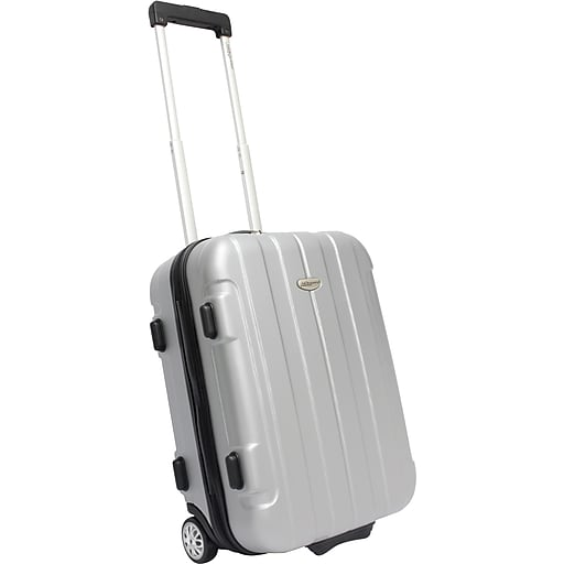 """Traveler's Choice® TC3900 Rome 21"""" Hard-Shell Carry-On Upright Luggage Suitcase, Silver"""