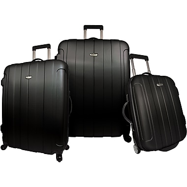 Traveler's Choice® TC3900 Rome 3-Piece Hard-Shell Spin/Rolling Luggage Set, Black