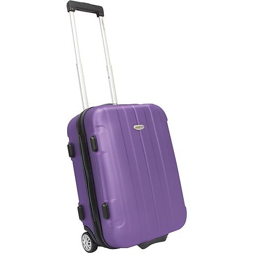 "Traveler's Choice® TC3900 Rome 21"" Hard-Shell Carry-On Upright Luggage Suitcase, Purple"