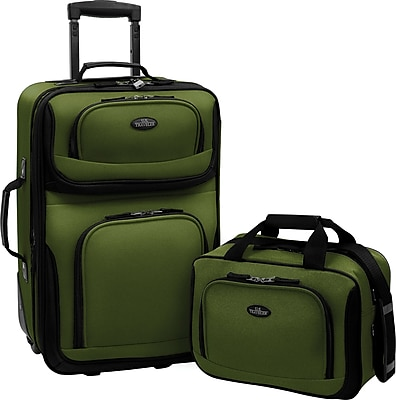 U.S.® Traveler US5600 Rio 2-Piece Expandable Carry-On Luggage Set, Green
