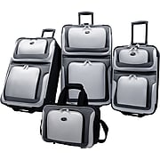 U.S.® Traveler US6300 New Yorker 4-Piece Luggage Set, Silver Gray
