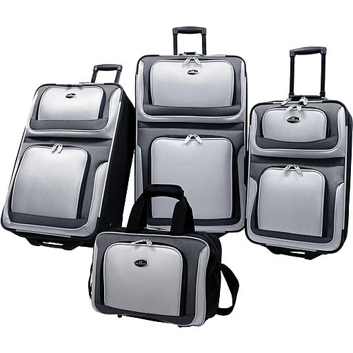 U.S.® Traveler US6300 New Yorker 4-Piece Luggage Set, Silver Gray