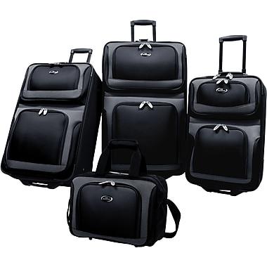 U.S.® Traveler US6300 New Yorker 4-Piece Luggage Set, Black