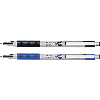 Zebra G-301 Stainless Steel Retractable Gel Pens, 0.7 mm