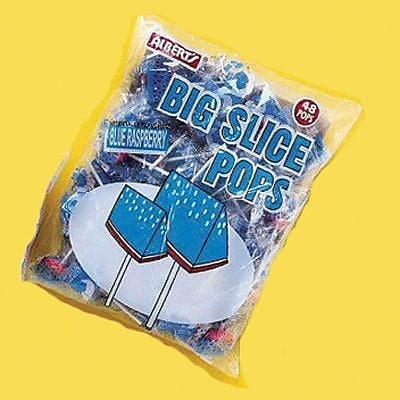 Big Slice Blue Raspberry Pops; 48 Lollipops/Bag