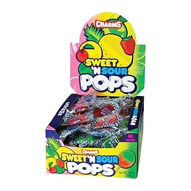 Charms Sweet & Sour Pops, 48 Lollipops/Box