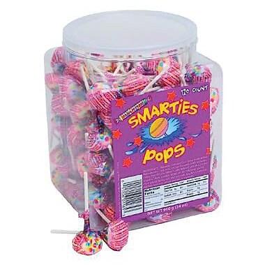 Smarties Pops Wrapped, 120 Lollipops, 34 oz. Tub