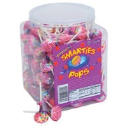Smarties Pops Wrapped; 120 Lollipops, 34 oz. Tub