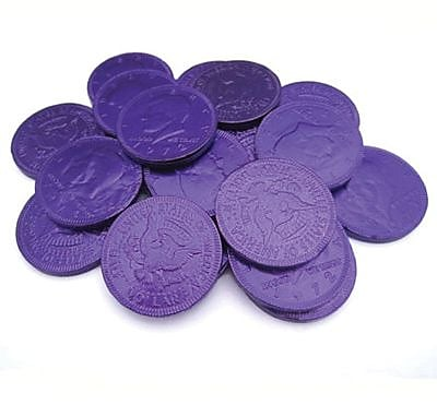 Fort Knox Milk Chocolate Coins, Purple Foil, 1 lb. Bulk