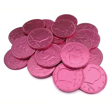 Fort Knox Milk Chocolate Coins, Pink Foil, 1 lb. Bulk