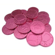 Fort Knox Milk Chocolate Coins, Pink Foil, 1 lb. Bulk