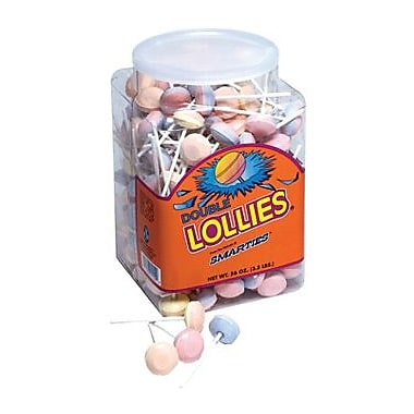 Double Lollies Unwrapped, 56 oz. Tub, 200 Lollipops/Tub