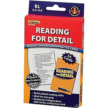 Edupress – Cartes de pratique de compréhension de lecture, Reading For Detail, niveau 3,5 à 5,0 (EP-3062)
