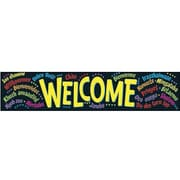 TREND T-25038 5' Straight Welcome (Multilingual) Quotable Expressions Banner, Multicolor