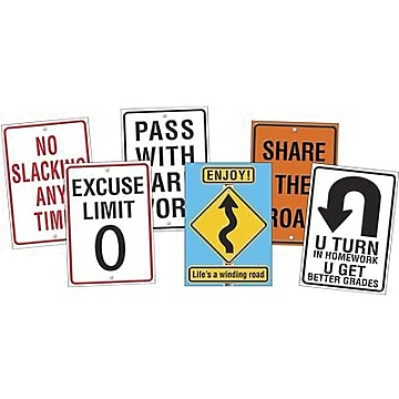 """Assorted """"Life Signs"""" Themed Motivational Prints, 13-3/8""""W x 19""""H, 6/PK, 2 PK/BD"""