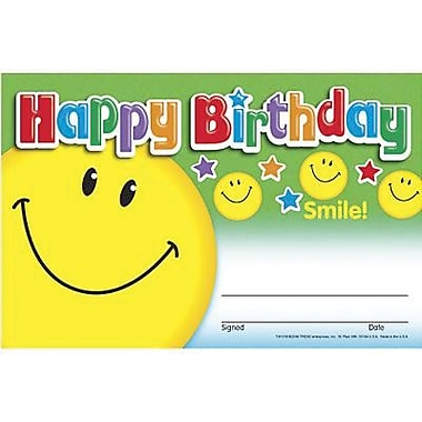 Trend Enterprises Recognition Awards, Happy Birthday (smile), 240/Pack (T-81018)