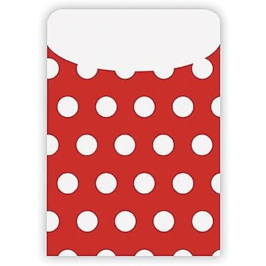 Top Notch Teacher Products® Peel and Stick Polka Dots Pocket, Red, 25/pack (TOP6033)