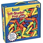 Lauri® Toys Tall Stacker™ Pegs, 100 Pieces