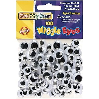 Chenille Craft Wiggle Eyes, Black, 5/8