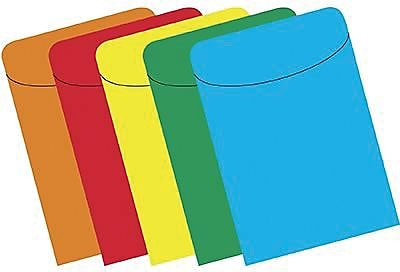 Top Notch Pockets, Assorted Brite Primary, 500/Pack