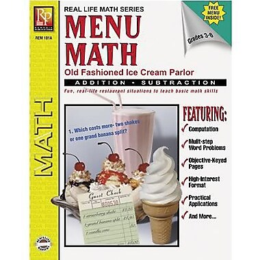 Remedia Menu Math Old-Fashioned Ice Cream Parlor Book 1, Addition And Subtraction, Grade 3-6 (REM101A)